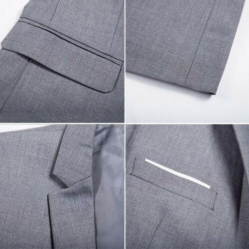 Men One Button Formal Long Sleeve Business Jacket