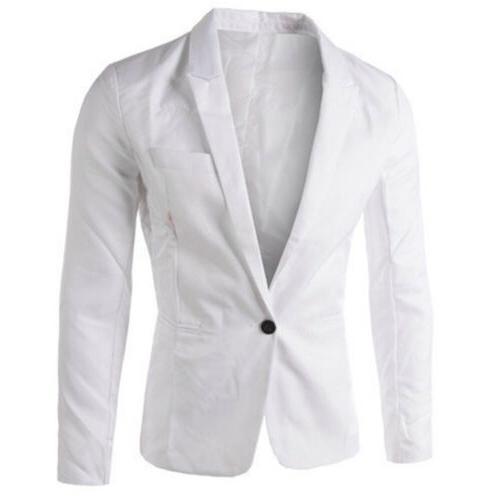Men Slim Button Formal Long Jacket