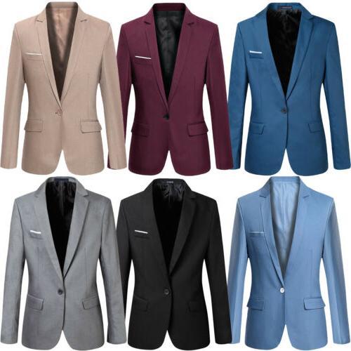 Men Slim Fit Button Formal Long Business Jacket Tops