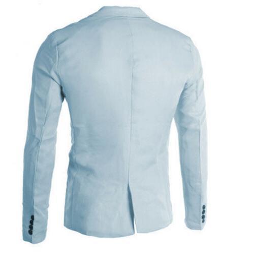Men Slim Fit Button Formal Long Jacket