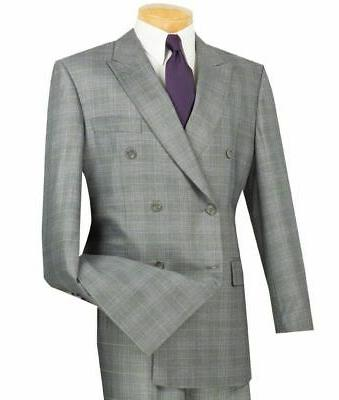 men s gray glen plaid double breasted