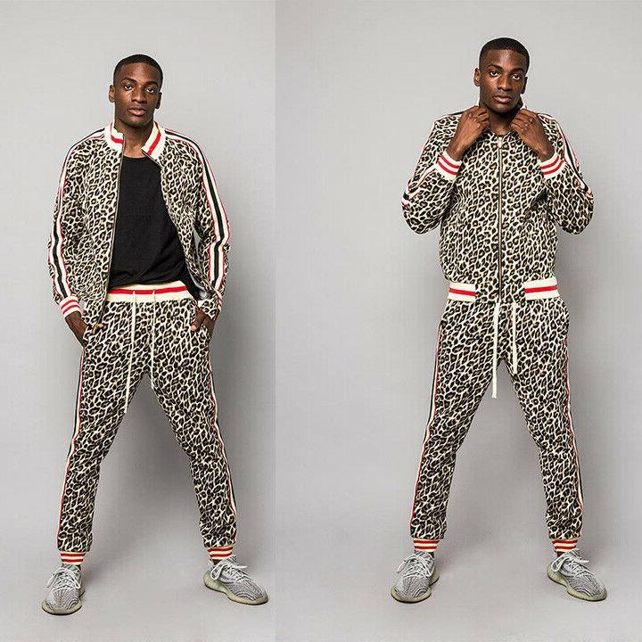 men s leopard track suit set