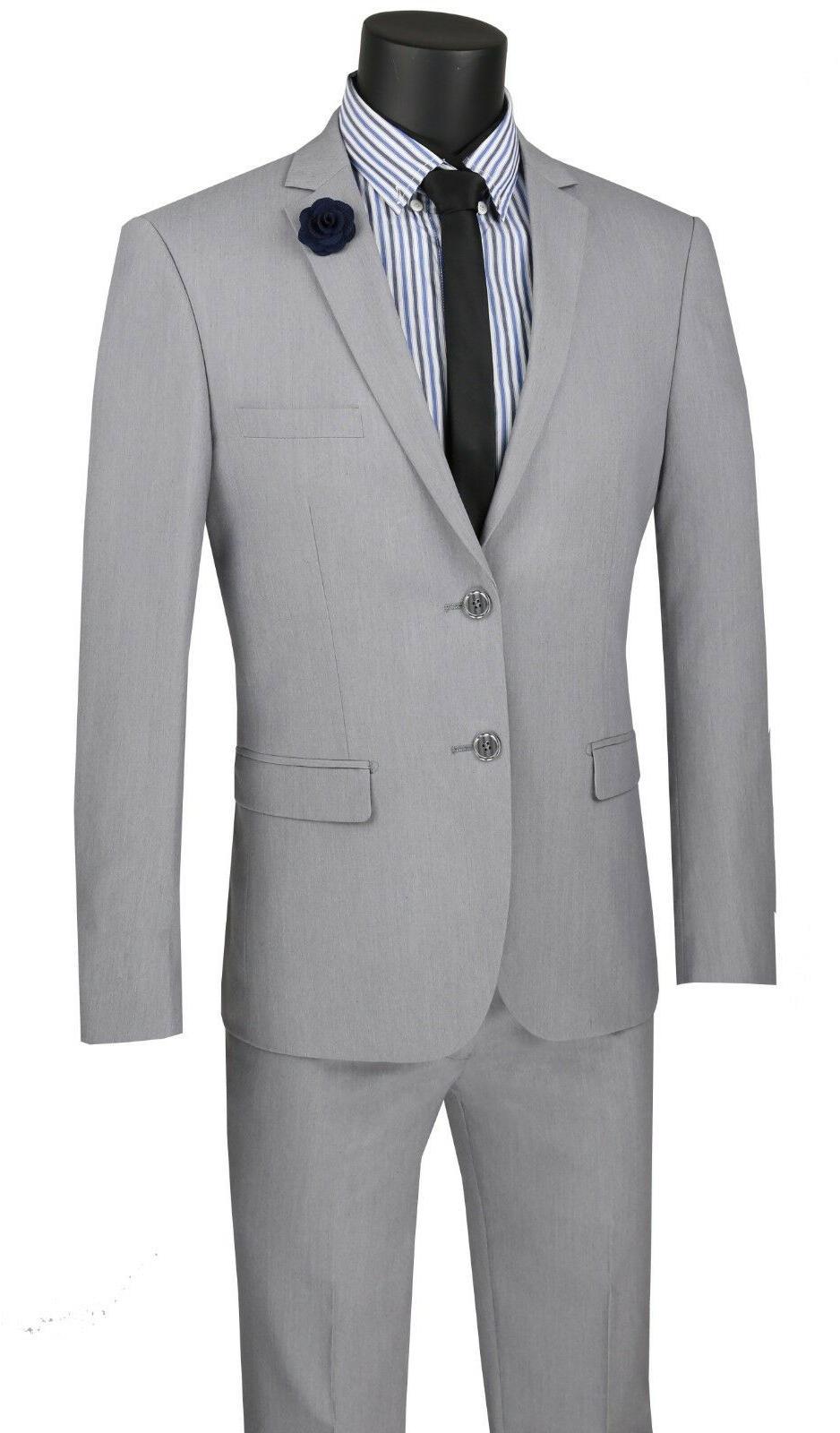 Vinci Men's Gray Stretch Button Slim Suit