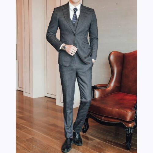 Men's Striped Brested Suit Slim Fit Wedding New