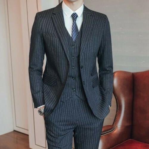 Men's Luxury Striped Brested Suit Slim Wedding Dress Groom Formal New