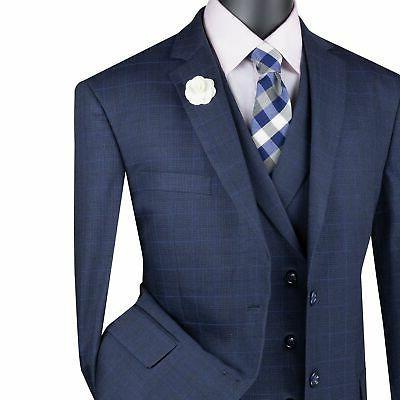 VINCI Men's Navy Glen Plaid 3 2 Classic Suit NEW