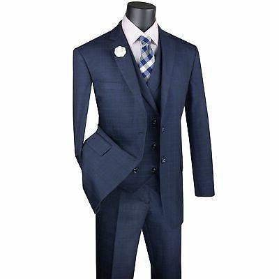 VINCI Men's Glen Piece 2 Button Classic Suit