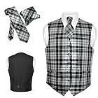 men s plaid design dress vest necktie