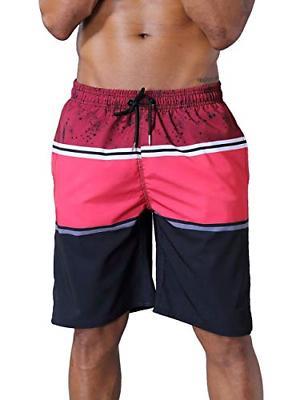 QRANSS Men's Quick Dry Swim Trunks Bathing Suit Striped Shor