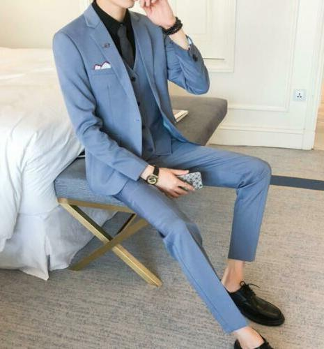 Men's Slim Fit Business Formal Wedding Coat 3-Piece Leisure