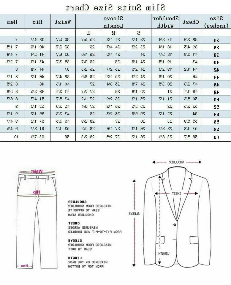 Men's Slim Fit Business Party Suit 2 Button 2pc