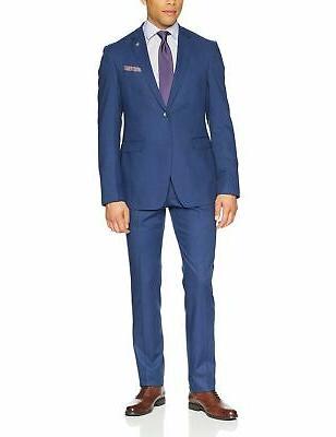 men s slim fit suit bright blue