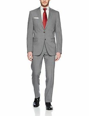 men s slim fit wool suit gray