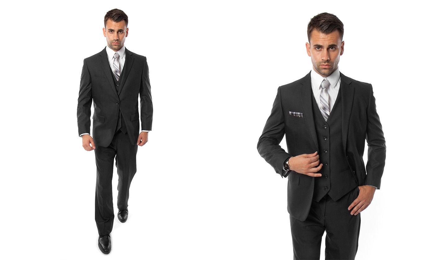 Men's Three Piece Suit Two Button Solid Suits