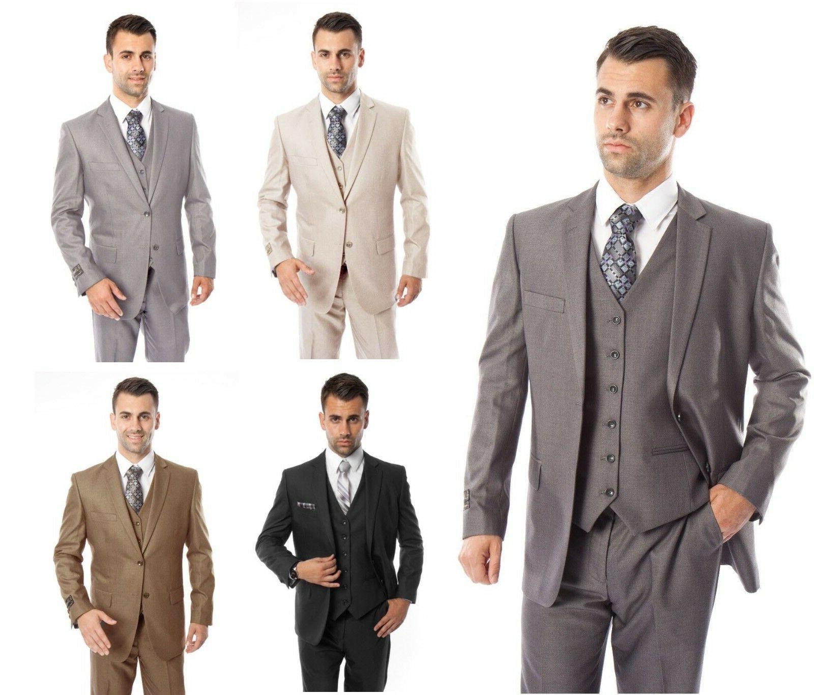 men s three piece vested suit modern
