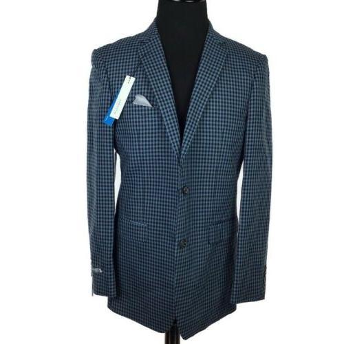 men slim fit stretch plaid suit jacket