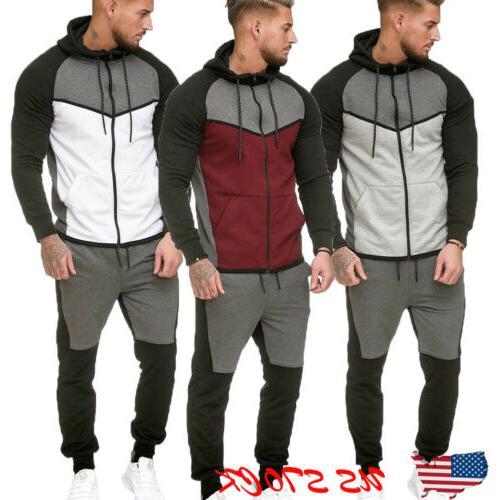 Men Tracksuit Jogging Top Bottom Sport Sweat Suit Trousers H