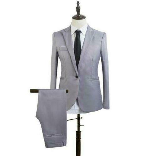 Mens 2 Formal Wedding Party Slim Jacket Pants