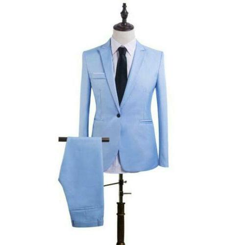 Mens 2 Formal Business Wedding Party Slim Fit Tuxedo Jacket Pants
