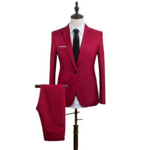 Mens 2 Formal Slim Tuxedo Pants Blazer