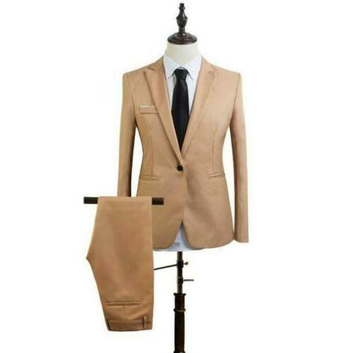 Mens 2 PC Formal Business Wedding Party Slim Fit Pants