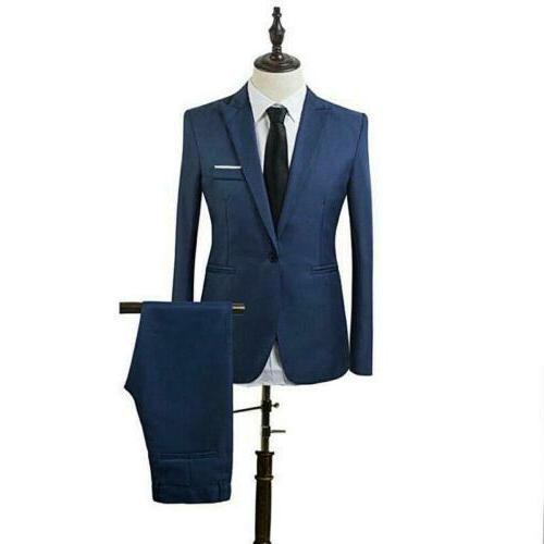 Mens 2 PC Formal Business Slim Fit Tuxedo Jacket Pants