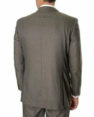 Mens Emigre Slim Fit Brown Pinstriped Two Suit