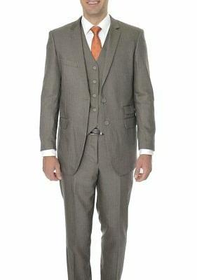 mens 42r extra slim fit brown pinstriped