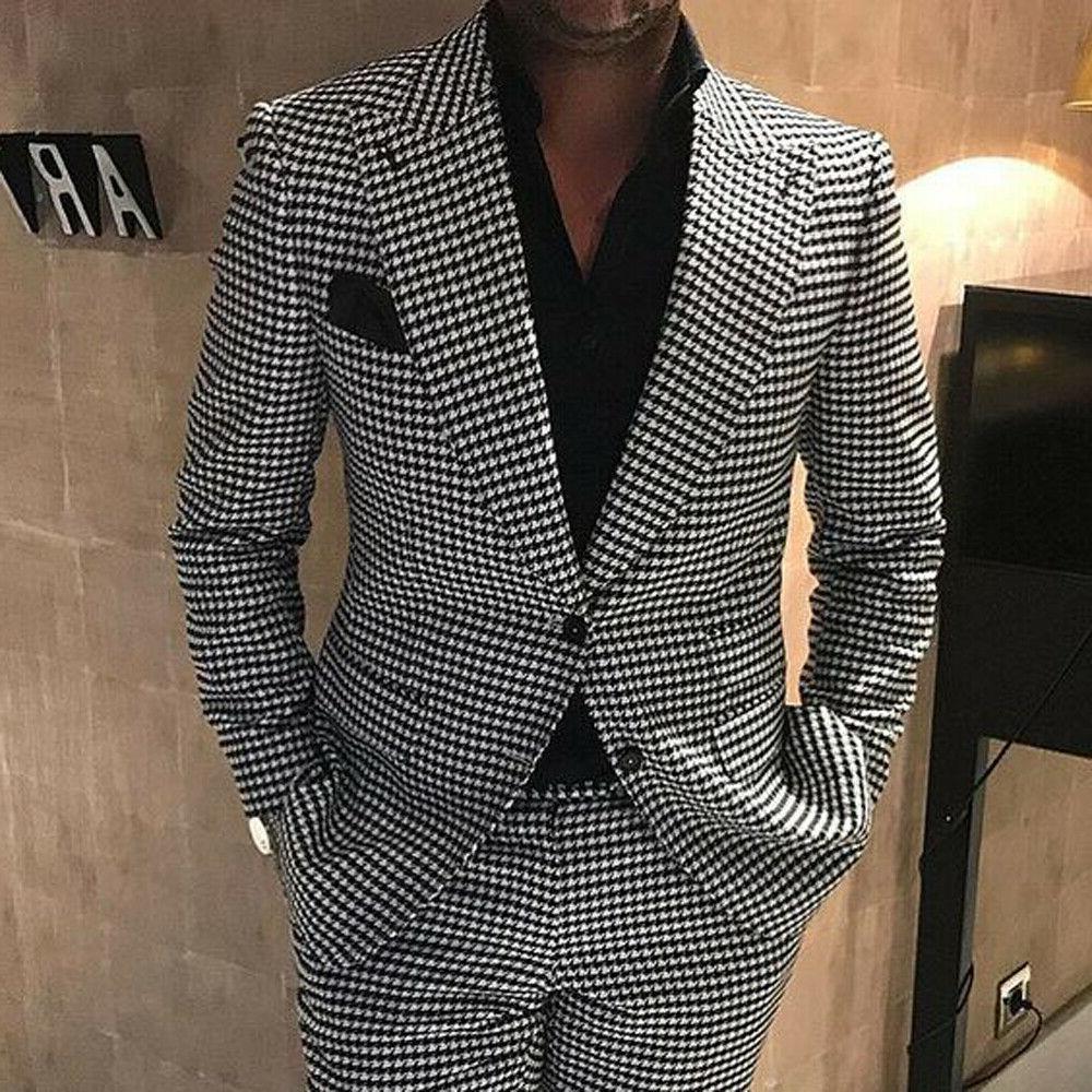 Mens Black&White Houndstooth Tweed Blazer Suits Groom Prom W