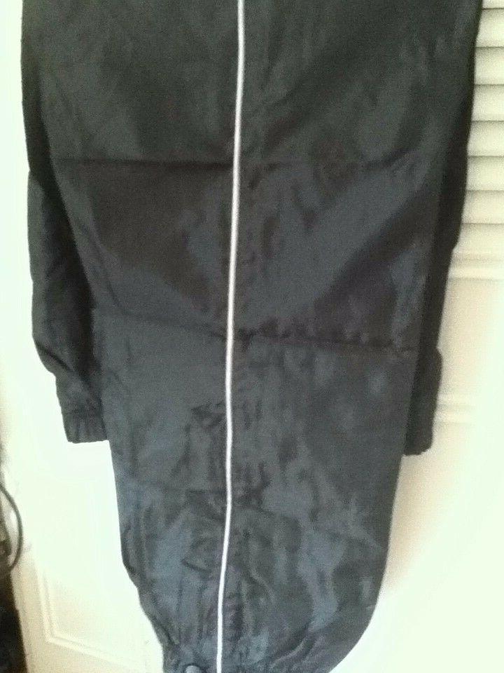 Mens Black Track Suit Pants Jacket Zip Hoodie 2 Pockets