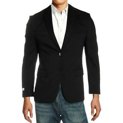 mens black wool two button suit jacket