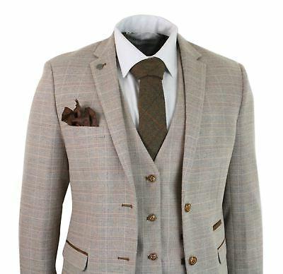 mens check tweed beige brown 3 piece