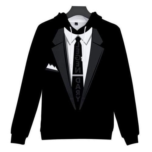 Mens Fake Two-piece Suit with Hoodie Hooded Sweatshirt