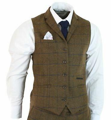 cavani Mens Herringbone Tweed Tan Brown 3 Piece Wool Blinders