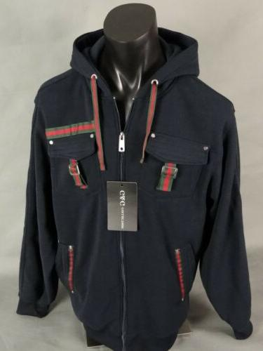 Mens Navy Blue 2PC Track With Red And Stripes