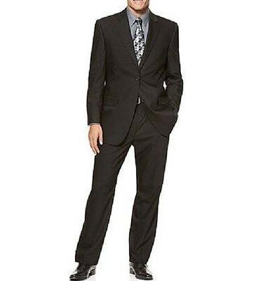 Izod Mens Pant Suit Sz 42R 35W Black Solid Business Two-Butt
