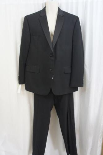 Izod Mens Pant Suit Sz 48R 42W Black Solid 2 PiecePolyester