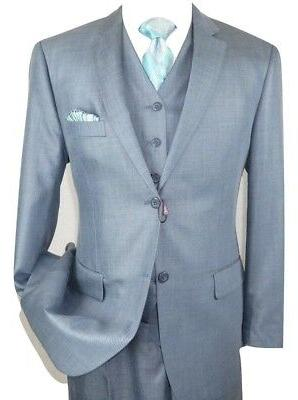 Mens Three Piece Suit  Vested VITALI Shinny Sharkskin M3090