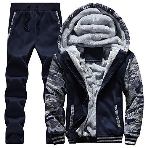 mens warm fit jogging sweat suits casual