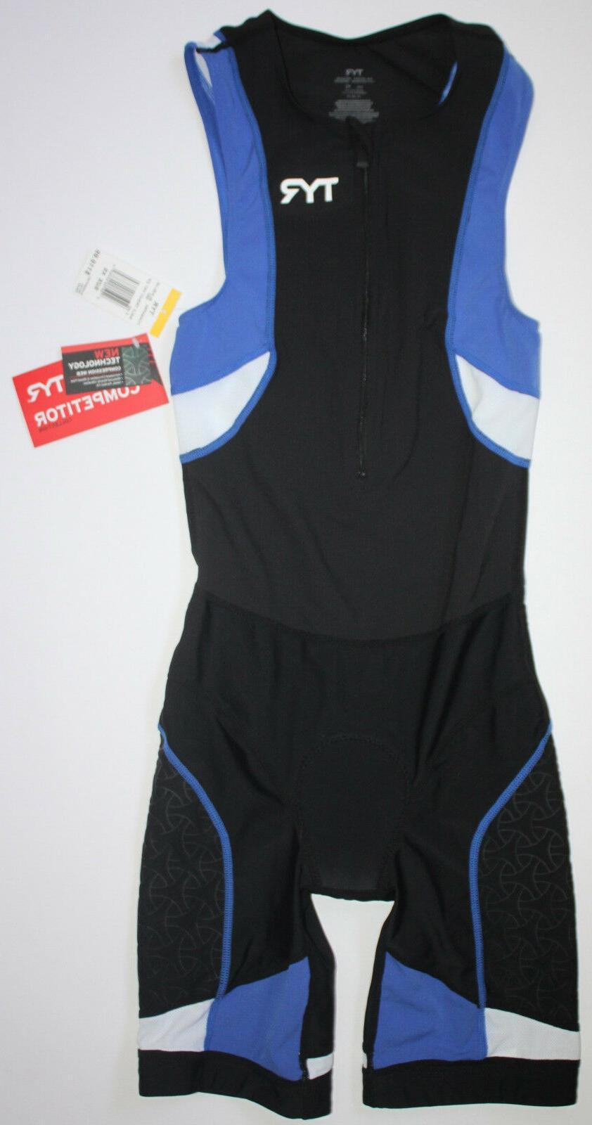 TYR Mens XS Black Blue White Front Zip Trisuit Shortjohn COM