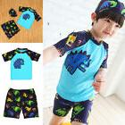 Monster Kids Toddler Baby Boys Swim Top Trunks Speedo Cap 3P