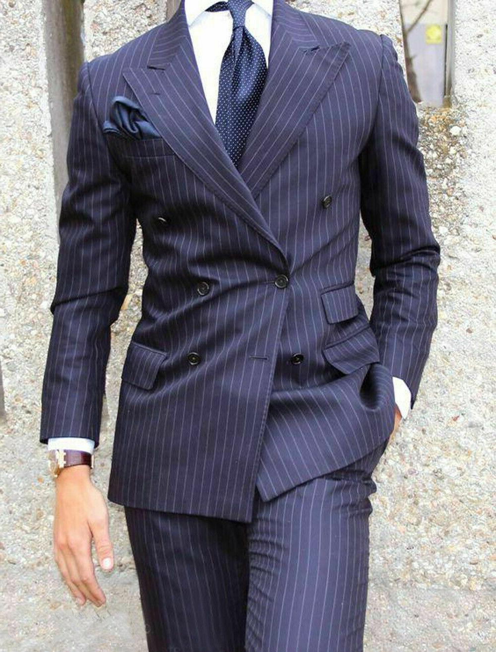 Navy Blue Suits Double Business Work New