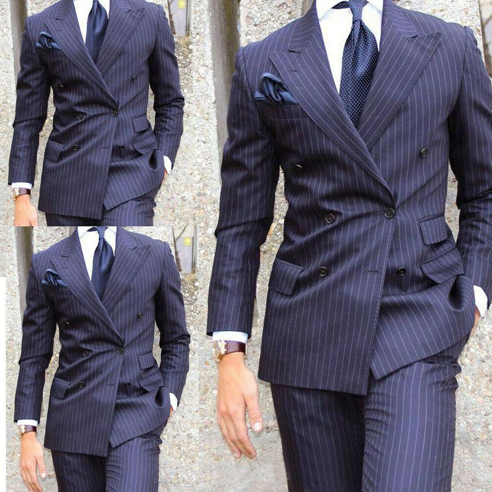 navy blue striped men suits double brested
