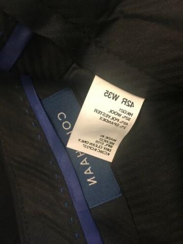 Navy Blue Haan Suit Pants Lined, 35 Waist