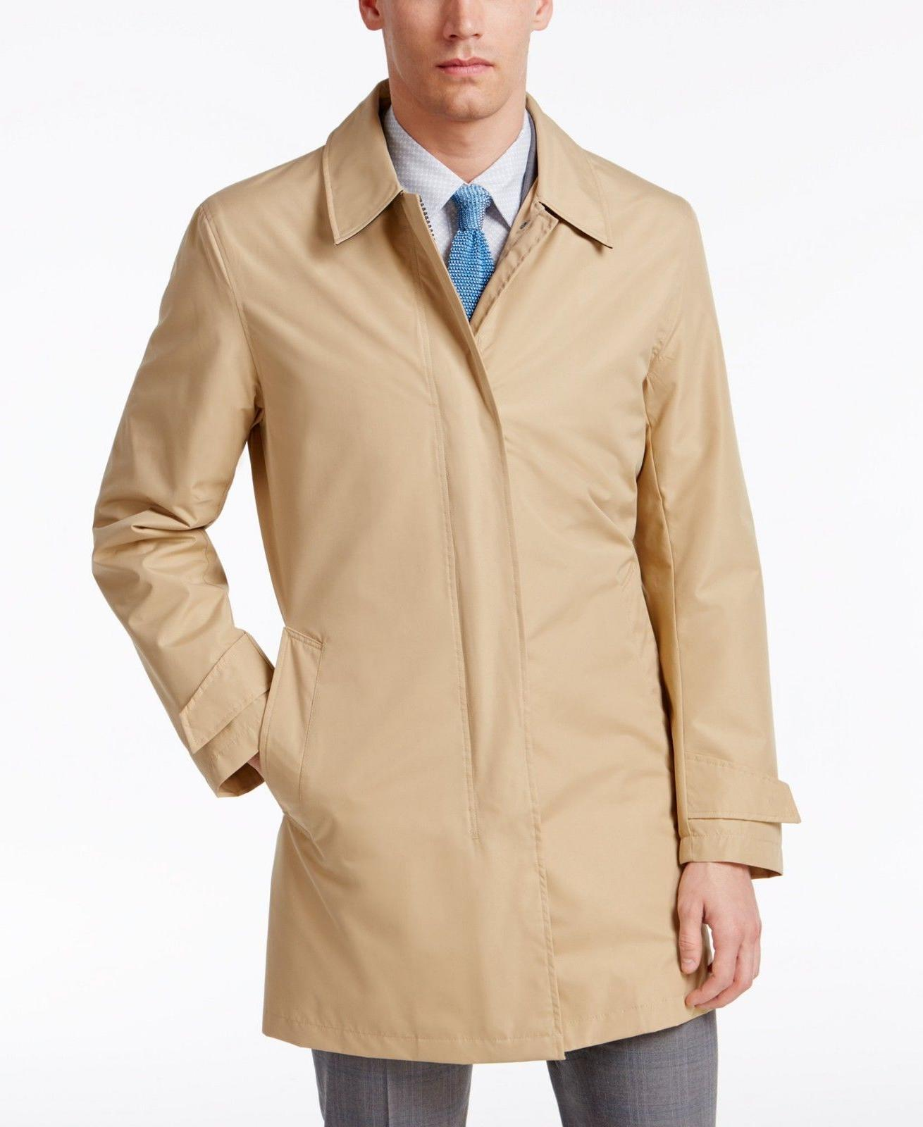 NEW $400 COLE HAAN Men BEIGE TOPCOAT MODERN TRENCH FULL ZIP