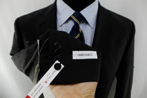 New 40R Calvin Klein Slim Black Double Suit