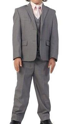 Gioberti NEW Boys Deep Gray Size 7 3pc Notched-Lapel Two-But