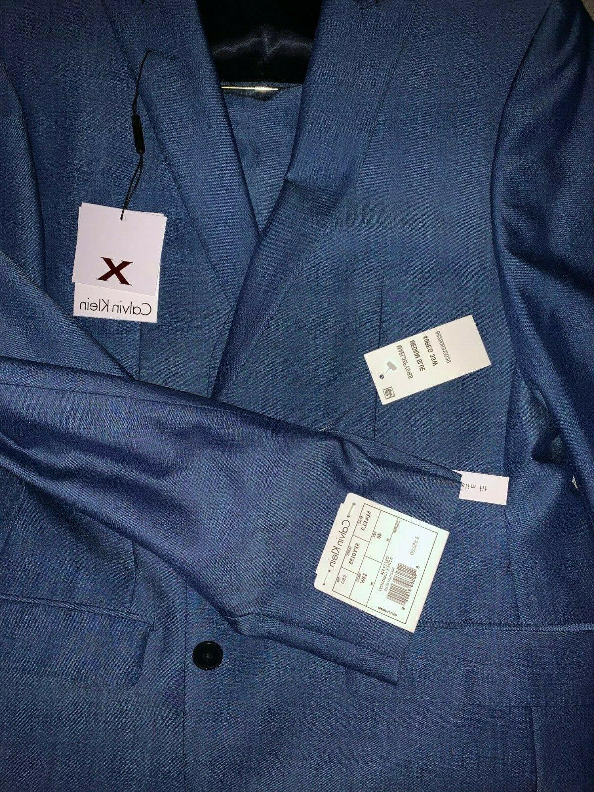 NEW Calvin Klein Slim 40R Blue Solid Suit Vest Pants
