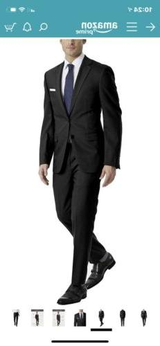New Klein Men's Slim Fit Stretch Suit. Black. 40S Free Shipping