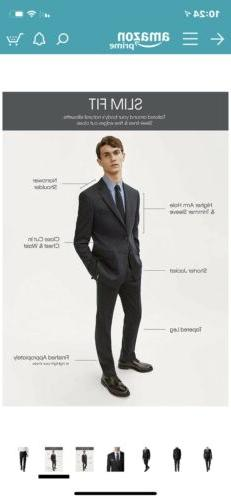 New Slim Fit Suit. Black. Shipping